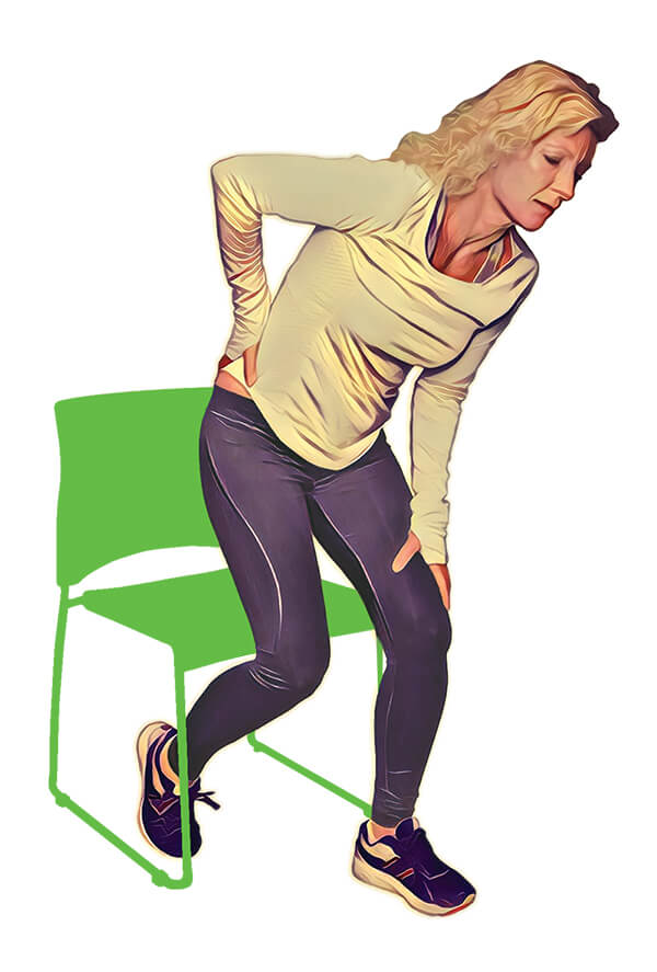 a woman with a sacroiliac joint disorder feeling pain when standing up from a seated position